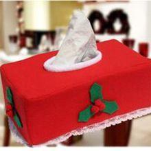 Casa de natal Decorativo Vermelho Xmas Party Jantar Roupas À Prova de Poeira Tampa Da Caixa de Tecido Removível(China (Mainland))