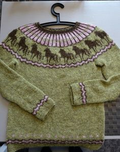 Can't find the link for this, but love the design! Ahah! Here's the link to a slight variation : http://www.ravelry.com/patterns/library/hestapeysa-icelandic-sweater-with-horses
