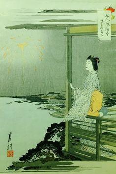 Lady Gazing Upon Fireworks, by Ogata Gekko, ukiyo-e Woodblock Print c. 1898, 13.5 x 9.5 inches