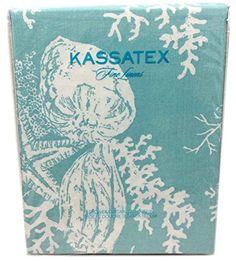 kassatex shower curtain fabric sea life sea shell starfish sea bottom design in aqua turquoise spa