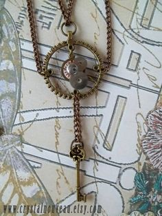 Handmade Double Chain Steampunk Necklace by CrystalNouveau on Etsy, $37.00  #Etsy #Steampunk #jewelry #necklace