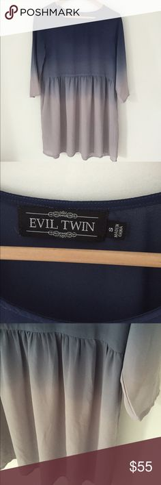 """EVIL TWINS dress / tunic  size Small Super pretty ombré blue to light gray dress Or tunic with pockets. Sz: small Purchased from NEED SUPPLY.  Measurements: 31 1/2"""" long, 17 1/2"""" from top of skirt to bottom, 18"""" sleeve length. Evil Twins Dresses"""
