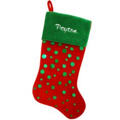 Personalized Red And Green Velvet With Sequins Stocking #velvet #stocking #sequins #personalized #Christmas $17.99