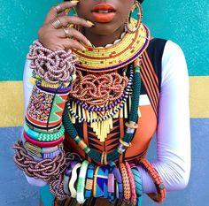 """Lellêzinha, do Dream Team do Passinho, na gravação do clipe de """"Vai Dar Ruim"""" com body da Cia Marítima e acessórios da Svetlana, 1989 Closet e acervo da produção. Styling de Antonio Schuback. #africa #afropunk #afrowave #blackpower"""