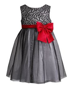 Black & Red Floral Overlay Dress - Toddler & Girls