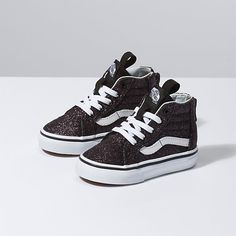 The Glitter Stars Zip combines the legendary Vans lace-up high top with a zipper entry at the heel, glittery textile and leather uppers, padded collars for support and flexibility, and signature rubber waffle outsoles. Cute Baby Shoes, Baby Girl Shoes, Boys Vans, Boys Shoes, Toddler Shoes, Toddler Boy Fashion, Kids Fashion, Toddler Girls, Fashion Clothes