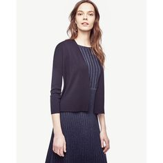 Ann Taylor Open Front Cardigan ($80) ❤ liked on Polyvore featuring tops, cardigans, navy blue, white top, white open cardigan, navy blue open front cardigan, ann taylor and open front cardigan