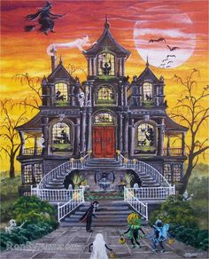 """Haunted Mansion""  All of our Witch Art and Halloween Art is for sale on Ebay or Etsy under screen name Sunbyrum. Copyright © 1999-2011 Byrum Collectibles All rights reserved. All of our designs, artistry, and photos are protected by copyright."