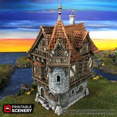 dnd Governor's Mansion Warhammer Lost Islands Port Winterdale Scatter Terrain RPG Warhammer D&D Dungeons and Dragons Small Printer, Prusa I3, 3d Modelle, Wargaming Terrain, D&d Dungeons And Dragons, 3d Prints, Miniature Houses, Miniatures, Things To Come