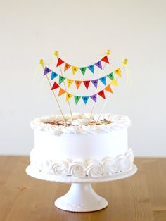 Happy Retirement, Rainbow Cake Bunting Topper, Cake Decoration