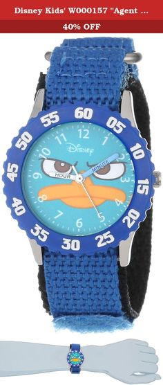 """Disney Kids' W000157 """"Agent P """"Time Teacher Watch. Keep track of time with this officially licensed Disney stainless steel kid's time teacher watch by ewatchfactory on your wrist. The timepiece displays artwork from your favorite Disney character on the face, and is designed with labeled """"hour"""" and """"minute"""" hands to help young ones learn how to tell time. This classic watch has a polished and matte steel finish and a precision Japanese movement for accurate time keeping and a one-year..."""