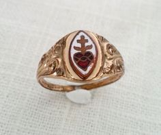 Antique 1920s 14K Gold and Mosaic Enamel Sacred Heart Ring