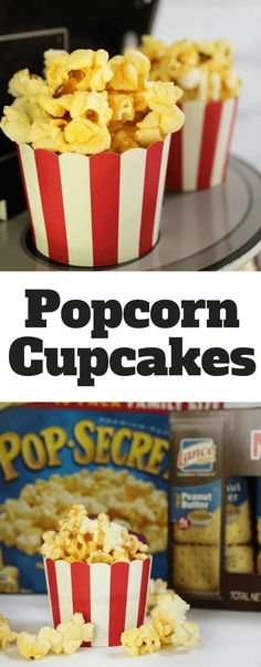 Popcorn Cupcakes - vanilla cupcakes with a caramel buttercream and fresh popcorn for movie night treat | #Pop4Captain #Pmedia #ad | @Walmart @popsecret @lancesnacks