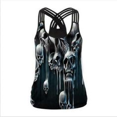 99c2a9f5b9 Summer Sleeveless Sexy Tank Top Women T-Shirt Black Vest Tops Print Skull  Head Camisole