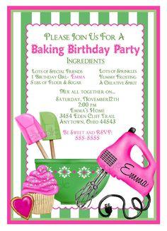 Baking Birthday Party Invitations, Shabby Chic Baking, kitchen invitations, Cupcake, Cookie, Heart, Children, Little girl, Cooking. $1.59, via Etsy.