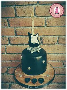 Rock star cake with fondant guitar
