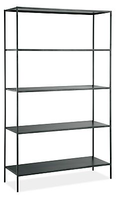 A Room & Board classic, the Slim shelves offer a balance of grace and strength. Natural steel gives weight to a delicate handcrafted design that features subtle weld marks unique to each piece.