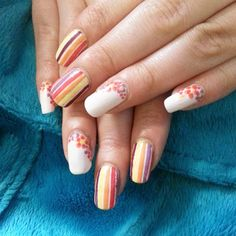 """Bright flowers and stripes  #stripingtape #stripednails #dottingtool #flowernails #pinknails #nailart #notd"