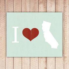 8x10 I Heart California Printable Art by PaperCanoePrintables, $5.00