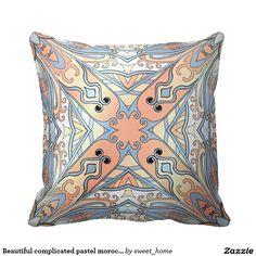 Beautiful complicated pastel moroccan ornament. pillow make interior unique and add aesthetics sense. Ornament create in oriental tradition. #Home #decor #Room #Interior #decorating #Idea #Styles