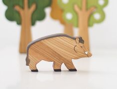 Wooden Wild Boar Pig toy Wild animal toy Animals play set Waldorf toys Wooden animal figurines for toddlers Handmade Gift for toddlers