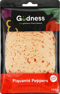 Gudness - SA's first ready to eat plant-based deli sandwich slice. Drinks Before Bed, Deli Sandwiches, Cold Cuts, Egg Muffins, Plant Based, Vegetarian, Nutrition, Stuffed Peppers, Snacks