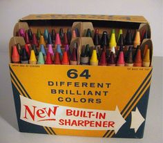 1958 -- the 64-color box. The first changes to the No. 64 box were made in its first year of production, as Light Blue & Brilliant Rose were replaced by Turquoise Blue & Magenta. From then to 1990, no colors were replaced, although in 1962 Flesh was formally renamed Peach, ostensibly in response to the civil rights movement, although it should be noted that the color had been known as Flesh Tint until 1949, and was called Pink Beige from 1956 to 1958.