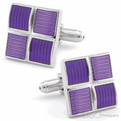 Four Squared Purple Cufflinks, Black Friday Sale by Cufflinksman