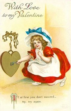 Darling little girl with a heart shaped lock & key.   For scrapbooking, altered art, gift tags, framing, cards.  Vintage Valentine Postcard by Suzee Que, via Flickr
