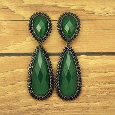 Brinco BlackLane Verde Esmeralda. Zircônias Negras. Linha Festa. Brincos Lindos. Semijóia. Banho Ródio Negro