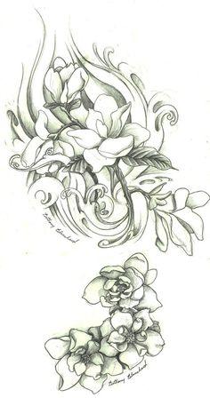 magnolia flower tattoo designs in black