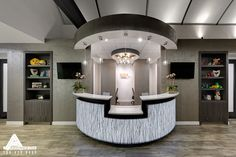 Open And Welcoming Reception Area Dental Office Design By Arminco Inc Front Desk