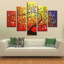 Pintado a mano la pintura abstracta de Fortune Happy Tree óleo moderna del arte de la pared de la lona Imagen 5 Piezas Decoración Hogar Set No Frame (China (continente))