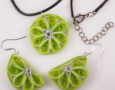 Cercei si medalion hand-made Quilling - Lime