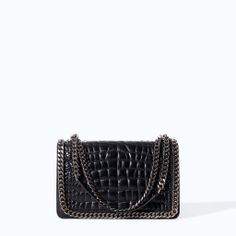 Image 1 of CROCODILE PATTERN LEATHER CITY BAG WITH CHAIN from Zara