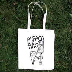 Hey, I found this really awesome Etsy listing at https://www.etsy.com/listing/227272262/alpaca-bag-illustrated-screen-printed