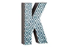 Letter K, Navy Greek Key on OneKingsLane.com