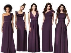 Purple and green bridesmaid dresses.