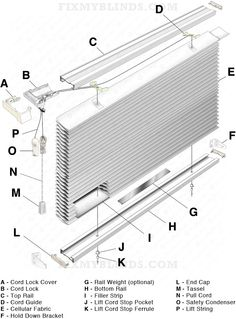 Standard Cellular Shade Diagram When Fixing Your Standard Cellular Shade It Can Be Difficult To Dissect Eve Blind Repair Cellular Shades Vertical Blind Parts