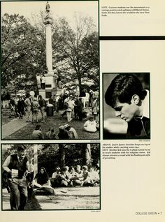 "Athena Yearbook, 1993. ""Curious students use the monument as a vantage point to catch a glimpse of Hilary Clinton. Little did they know she would be the next first lady."" :: Ohio University Archives"