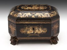 Chinese Lacquer Tea Chest (c. 1845 China) // standing on four carved dragon feet with beautiful Chinoiserie panels.  The interior features two removable paktong caddies with bone handle lids. // Price GBP 995.00 (Pound Sterling) //  - Maria Elena Garcia -  ► www.pinterest.com/megardel/ ◀︎