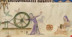 The Luttrell Psalter - much closer detail on the spinner's apron