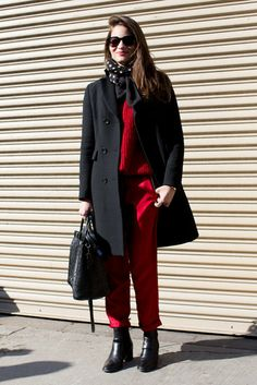 This Is It — Over 400 of The Best Looks to Hit the Streets at NYFW: Cropped trousers were just the right length to show off this show-goer's ankle boots.  : Slim denim got a tomboy-inspired feel with structured layers.  : Maria Duenas worked a bold red and black palette.