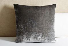Linen Salvage Et Cie - Tailored Velvet Euro Sham, Gray Matching Bedding And Curtains, Grey Bedding, Linen Bedding, Bedding Decor, Bed Linens, Luxury Bedding Collections, Luxury Bedding Sets, Velvet Duvet, Hotel Collection Bedding