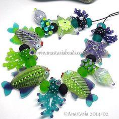 "Anastasia Lampwork Beads 11 ""Green Reef"" SRA | eBay"