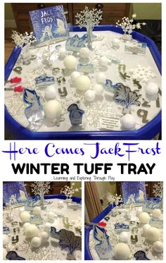 Jack Frost Winter Tuff Tray – to Christmas Crafts For Kids To Make, Christmas Activities For Kids, Winter Activities, Eyfs Activities, Sensory Activities Toddlers, Sensory Bins, Jack Frost, Tuff Spot, Tuff Tray