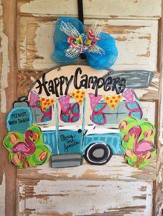 Retro Camper Camping Flamingo Door Hanger by queensofcastles