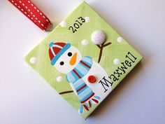 So cute! Each snowman is holding a sparkly snowball. The 3x3 snowman ornament can be painted in a variety of colors and will be personalized as