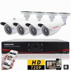 4 Channel Home Security Camera System Outdoor 1080N DVR AHD 720P Night CCTV Kits #SUNCHAN