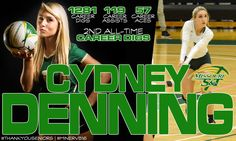 #1 - CYDNEY DENNING ('13-'16)   5-5   Def. Specialist-Libero Co-Captain   Brandeis HS   Class of 2013   San Antonio, Texas   Final MinerVB Career Stats: 438 sets played (5th all-time), 1,281 digs (2nd all-time), 119 assists, 57 aces (10th all-time) & 10 kills.